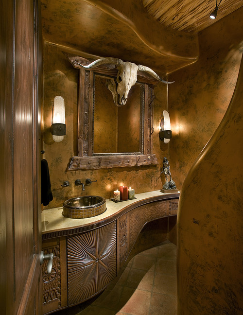 texas style eclectic powder room